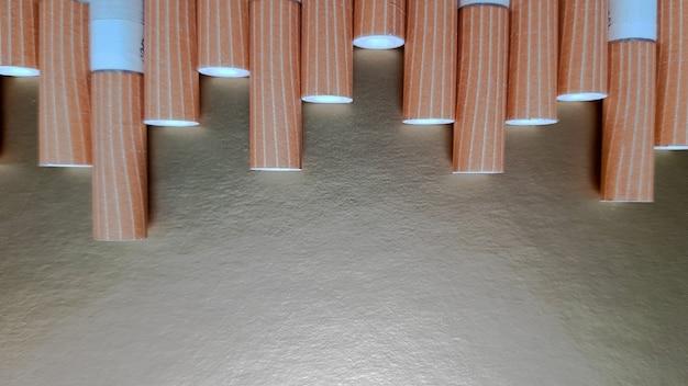 Immagine di diverse sigarette commerciali. mucchio di sigarette su fondo oro o concetto di campagna antifumo, tabacco.