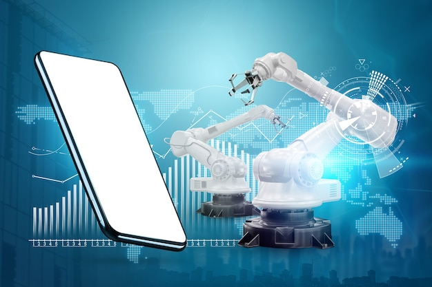 Immagine di uno smartphone sullo sfondo di bracci robotici, fabbrica moderna. concetto di tecnologia iot, fabbrica intelligente. operazione di produzione digitale. industria 4.0.