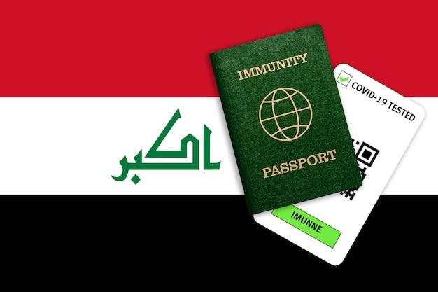 Passaporto di immunità per il viaggio e risultato del test per covid sulla bandiera dell'iraq