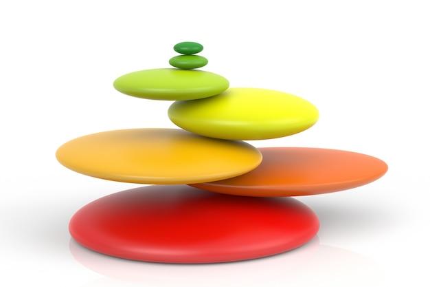 Impossibile bilanciare le pietre zen colorate su sfondo bianco. rendering 3d