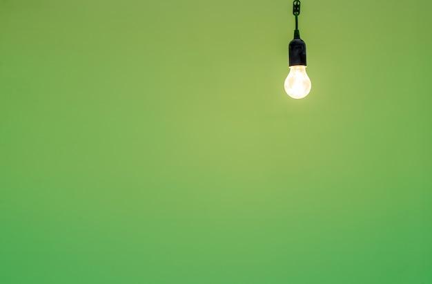 La lampadina inclusa sullo sfondo di un muro verde