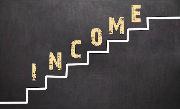 Crescita del reddito sulla lavagna nera con la mano dell'uomo d'affari