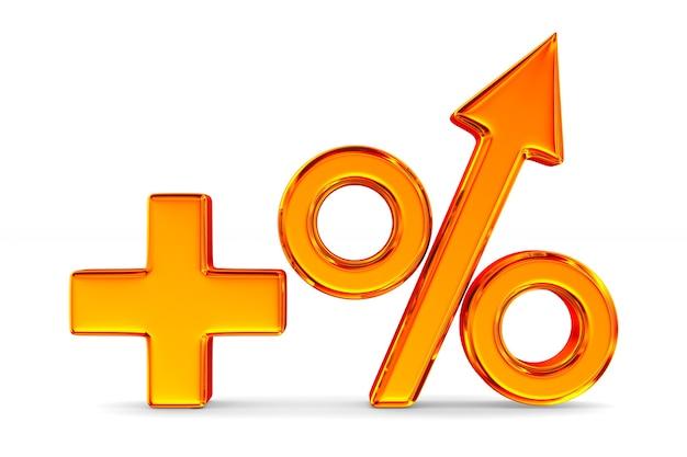 Aumenta la percentuale su sfondo bianco. illustrazione 3d isolata