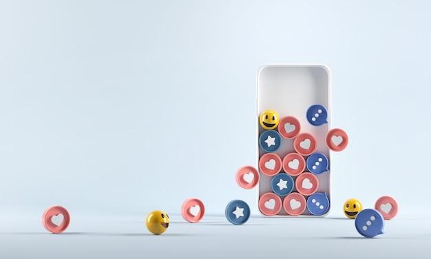Aumenta l'icona dei social media nello smartphone