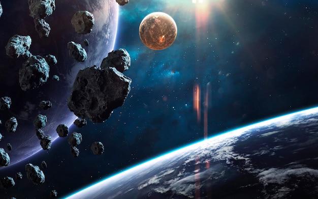 Immagine spaziale incredibilmente bella e dettagliata, luce di stelle e pianeti. elementi di questa immagine forniti dalla nasa