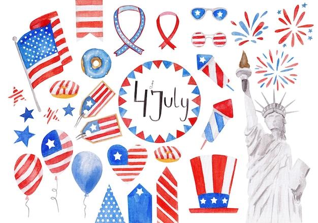Giorno di indipendenza degli elementi festivi dell'acquerello degli stati uniti d'america con diversi simboli di festa isolati su priorità bassa bianca