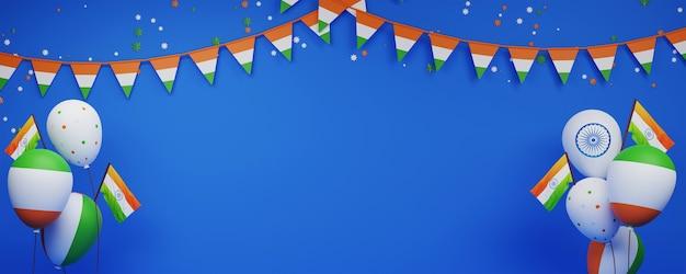 Bandiere dell'india con palloncini, stelle tricolori, stamina decorata su sfondo blu e spazio di copia.