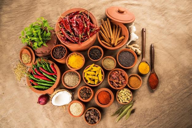 Spezie essenziali indiane in vasi di terracotta