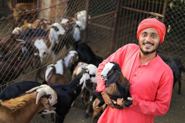 Coltivatore indiano in caseificio di capra