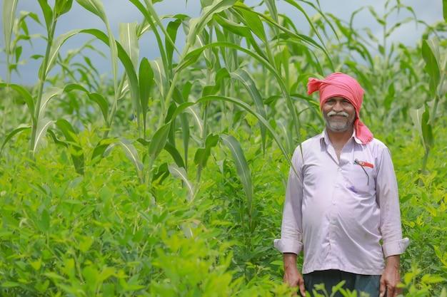 Coltivatore indiano in piedi nel suo campo