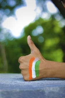 Bandiera indiana sulla mano e sul polso del bambino