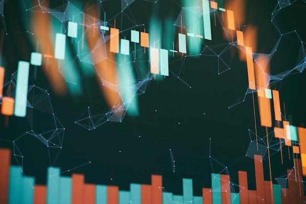 Indicatori compresa l'analisi del volume per l'analisi tecnica professionale sul monitor di un computer. concetto di analisi fondamentale e tecnica.