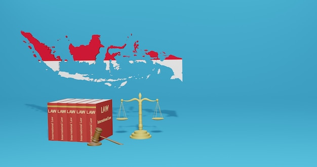 Legge indonesiana per infografica, contenuti dei social media nel rendering 3d