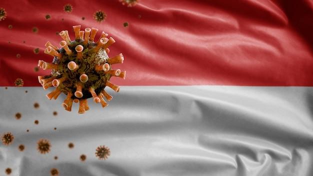 Bandiera indonesiana che sventola e concetto di coronavirus 2019 ncov.