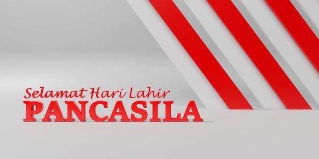 Illustrazione indonesiana di giorno di pancasila di festa nel rendering 3d di colore bianco e rosso