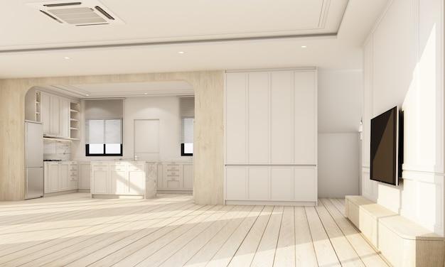 Interni interni su pavimento in legno con parete caratteristica bianca classica in una grande stanza a casa minima e finestra lucernario di soggiorno vuoto sala da pranzo e cucina accogliente rendering 3d in stile scandinavo