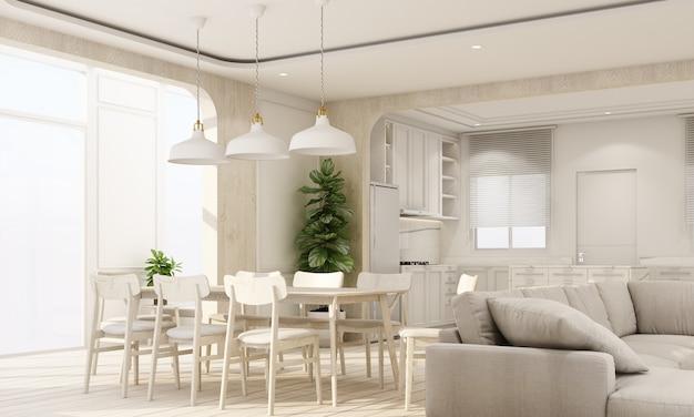 Interni interni su pavimento in legno con parete caratteristica classica bianca in una grande stanza a casa minima e finestra lucernario di soggiorno pranzo e cucina con mobili in stile accogliente rendering 3d