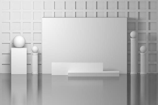 Composizione semplice da interno con colonne, colonne e sfere