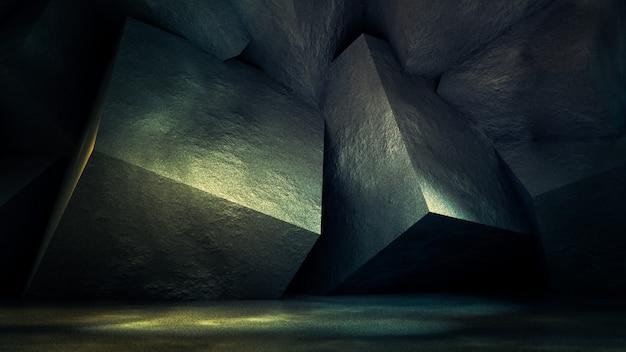 Studio interno grunge industriale con struttura in pietra e cemento. illustrazione 3d, rendering 3d.