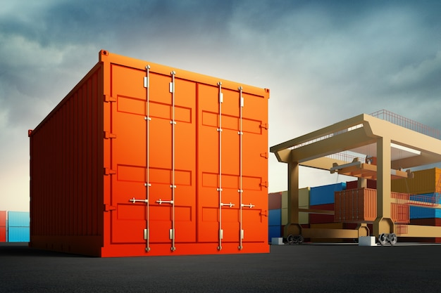 Porto industriale con contenitori