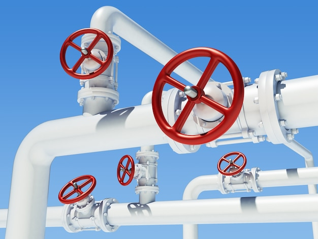 Piplene tubo industriale con valvole rosse