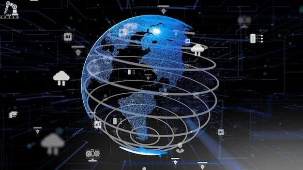 Concetto di innovazione tecnologica informatica digitale di industria 4.0