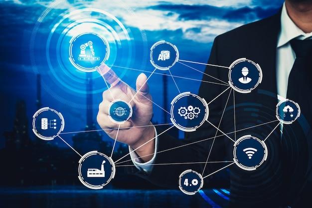 Concetto di tecnologia del settore della fabbrica intelligente per la quarta rivoluzione industriale