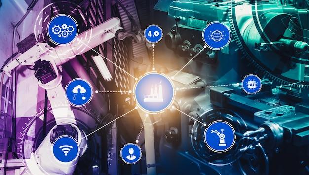 Concetto di tecnologia industriale con fabbrica intelligente per la quarta rivoluzione industriale