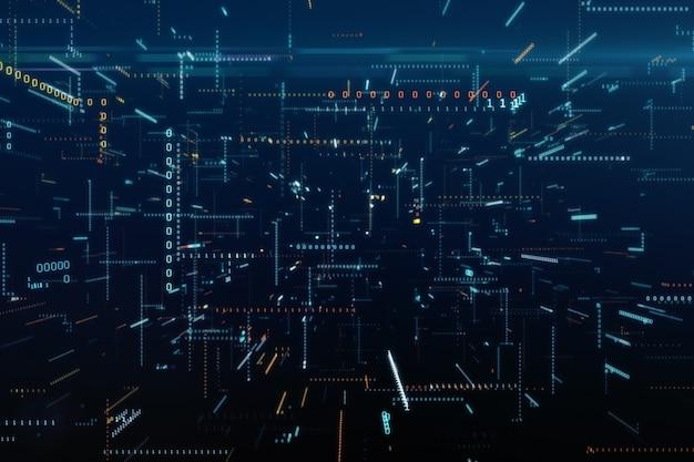 Volo infinito tra il codice binario in un'illustrazione tecnologica caotica dello spazio 3d