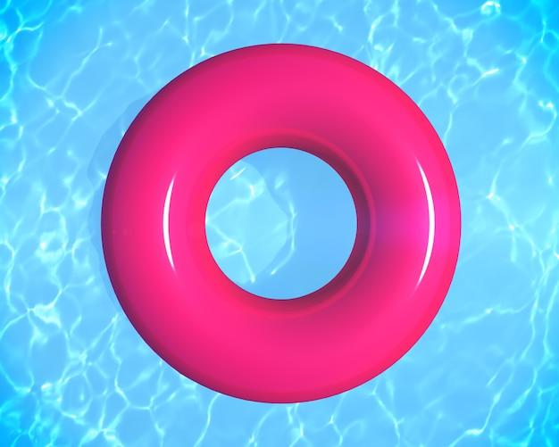 Anello di gomma gonfiabile sull'acqua della piscina con copia sapce 3d rendering vista dall'alto dello sfondo delle vacanze estive