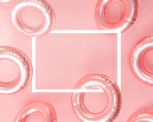 Anello gonfiabile per il nuoto. rettangolo copia spazio estate sfondo rosa rendering 3d