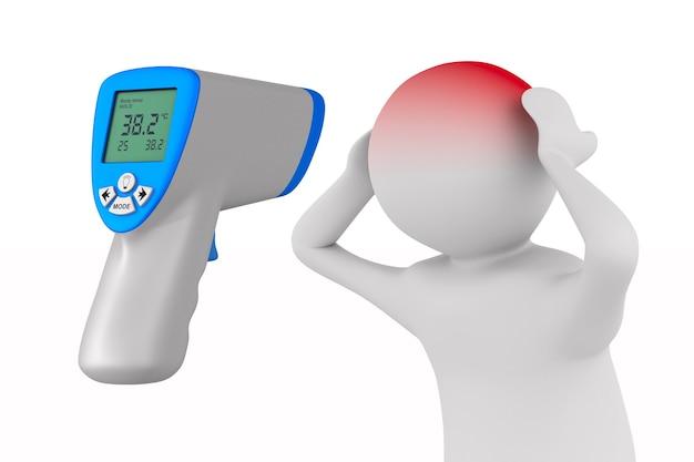 Termometro a infrarossi e paziente su bianco.