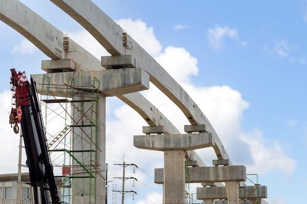Concetti di costruzione di infrastrutture, costruzione di una linea ferroviaria di trasporto di massa in corso con infrastrutture pesanti.