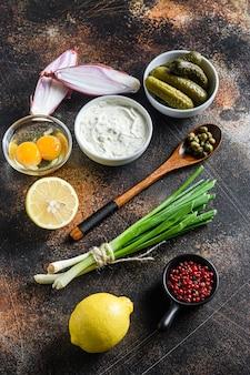 Ingrediente salsa tartara maionese biologica