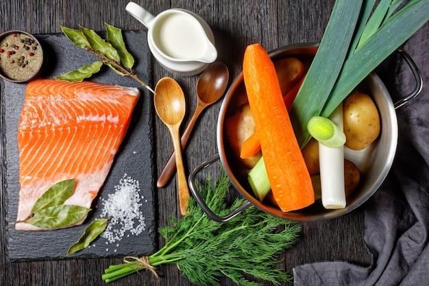 Ingredienti per lohikeitto, zuppa di pesce classica finlandese - panna, patate, carote, porri e aneto in una pentola, pezzo di salmone crudo su una tavola di pietra, vista orizzontale dall'alto