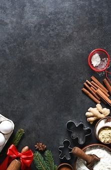 Ingredienti per fare il pan di zenzero. vista dall'alto