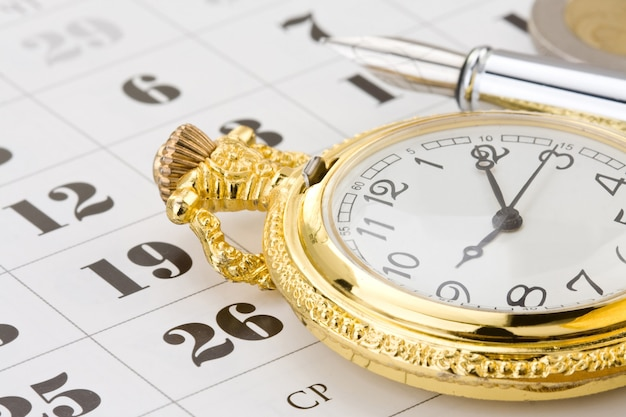 Penna a inchiostro e moneta denaro sul calendario
