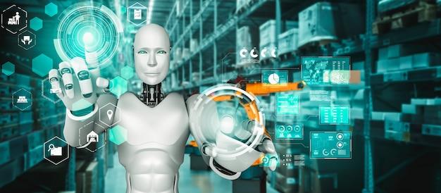 Robot industriale innovativo che lavora in magazzino per la sostituzione del lavoro umano