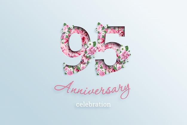 Il numero di iscrizione 95 e la celebrazione dell'anniversario textis fiori, su una luce