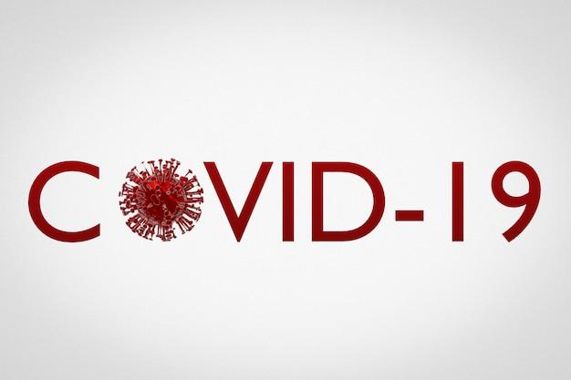 La scritta covid-19 in rosso con alcuni microbi invece di lettere su un muro bianco isolato. concetto di virus del coronovirus. rendering 3d.