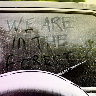 Iscrizione sul vetro sporco e polveroso dell'auto: siamo nella foresta. concetto di escursionismo