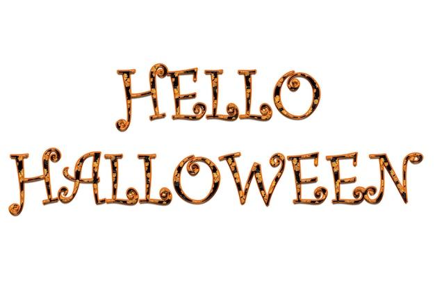 Iscrizione hello halloween in arancione con lettere nere su sfondo bianco