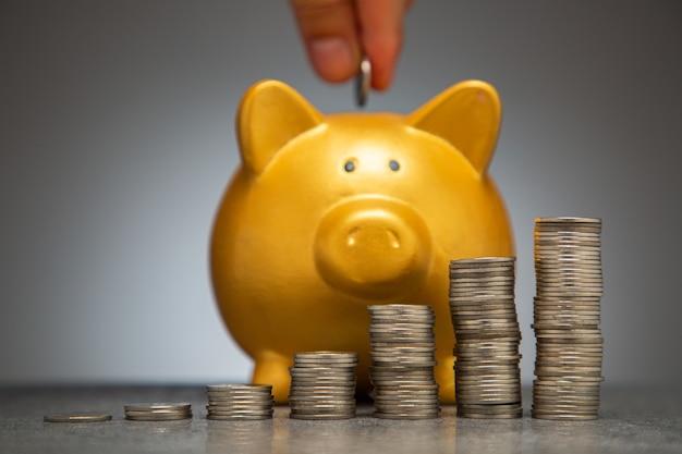 Inserisci moneta di denaro nel salvadanaio per aumentare il budget finanziario risparmiare ricchezza di denaro