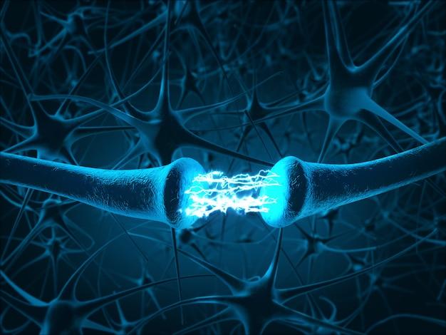 All'interno del cervello concetto di neuroni e sistema nervoso. rendering 3d.