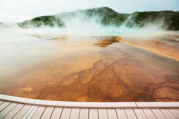 Naturale stimolante. piscine e campi di geyser nel parco nazionale di yellowstone, usa.