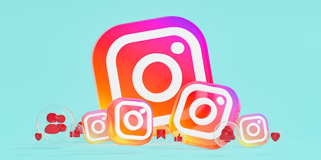 Instagram logo ig in vetro acrilico e icone dei social media con spazio di copia