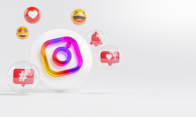 Instagram logo in vetro acrilico e icone dei social media copy space 3d