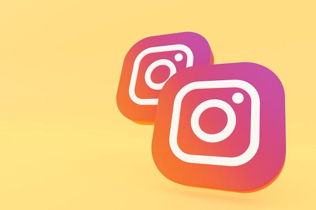 Logo di applicazione instagram rendering 3d su sfondo giallo