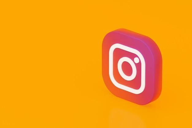 Rendering 3d logo applicazione instagram su sfondo giallo