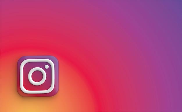 Instagram backgraund rendering 3d, logo dei social media